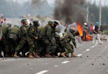 Manifestantes en Ecuador